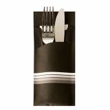 520 Bestecktaschen 20 cm x 8,5 cm schwarz/weiss Stripes inkl. farbiger Serviette 33 x 33 cm 2-lag.
