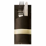 520 Bestecktaschen 20 cm x 8,5 cm schwarz/creme Stripes inkl. farbiger Serviette 33 x 33 cm 2-lag.