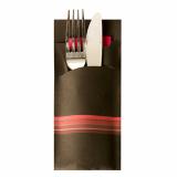 520 Bestecktaschen 20 cm x 8,5 cm schwarz/bordeaux Stripes inkl. farbiger Serviette 33 x 33 cm 2-lag.