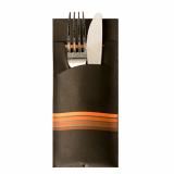 520 Bestecktaschen 20 cm x 8,5 cm schwarz/orange Stripes inkl. farbiger Serviette 33 x 33 cm 2-lag.