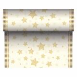 6 x  Tischläufer, stoffähnlich, Airlaid 24 m x 40 cm creme Sparkling Stars