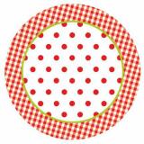 10 x  50 Teller, Pappe rund Ø 23 cm Red Dots