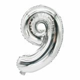 24 x  Folienluftballon 35 cm x 20 cm silber 9