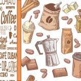10 x  20 Servietten, 3-lagig 1/4-Falz 33 cm x 33 cm Coffee Time