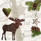 15 x  20 Servietten, 3-lagig 1/4-Falz 33 cm x 33 cm Christmas Spirit