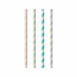 10 x  100 Trinkhalme, Papier pure Ø 6 mm · 20 cm farbig sortiert Stripes