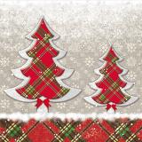 6 x  100 Servietten, 3-lagig 1/4-Falz 33 cm x 33 cm Chequers Tree