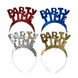 8 x  4 Haarreifen farbig sortiert Party Time Metallic