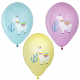12 x  6 Luftballons Ø 29 cm farbig sortiert Lama