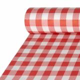 5 x  Papiertischtuch mit Damastprägung 50 m x 1 m rot Vichy Karo