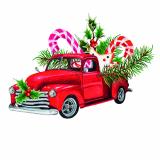 15 x  20 Servietten, 3-lagig 1/4-Falz 33 cm x 33 cm Christmas Car