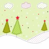 15 x  20 Servietten, 3-lagig 1/4-Falz 33 cm x 33 cm Green Christmas Trees