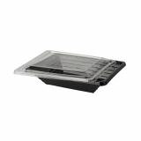 6 x  40 Salatschalen, PET 750 ml 5,5 cm x 17 cm x 20 cm schwarz mit Deckel PET glasklar