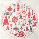 15 x  20 Servietten, 3-lagig 1/4-Falz 33 cm x 33 cm Christmas Symbols