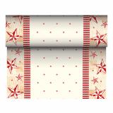 6 x  Tischläufer, stoffähnlich, Airlaid 24 m x 40 cm creme/rot Star Shine