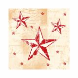 12 x  50 Servietten, 3-lagig 1/4-Falz 25 cm x 25 cm creme/rot Star Shine