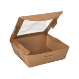 3 x  40 Feinkostboxen, Pappe mit Sichtfenster aus PLA eckig 650 ml 4,5 cm x 12 cm x 12 cm braun 100% Fair