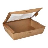 4 x  40 Feinkostboxen, Pappe mit Sichtfenster aus PLA pure eckig 1000 ml 4,5 cm x 18 cm x 13 cm braun 100% Fair