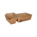 6 x  80 Pommes-Frites-Trays, Pappe pure 2-geteilt 3,5 cm x 7 cm x 9 cm braun 100% Fair klein