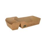 12 x  80 Pommes-Frites-Trays, Pappe pure 2-geteilt 3,5 cm x 7 cm x 12 cm braun 100% Fair mittel