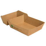 7 x  80 Pommes-Frites-Trays, Pappe pure 2-geteilt 3,8 cm x 8,5 cm x 15,5 cm braun 100% Fair extra groß