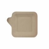 10 x  50 Fingerfood - Teller, Zuckerrohr pure eckig 11,3 cm x 11,3 cm natur mit Anfasser