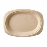 10 x  50 Teller, Zuckerrohr pure oval 23 cm x 16 cm x 2 cm natur