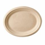 10 x  50 Teller, Zuckerrohr pure oval 32 cm x 25,5 cm x 2 cm natur