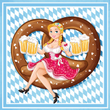 6 x  100 Servietten, 3-lagig 1/4-Falz 33 cm x 33 cm Bavarian Comic