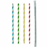 10 x  100 Trinkhalme, Papier pure Ø 6 mm · 20 cm farbig sortiert Stripes einzeln gehüllt