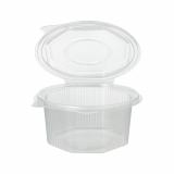 10 x  50 Verpackungsbecher mit Klappdeckeln, PP 8-eckig 500 ml 5,6 cm x 11 cm x 11 cm transparent