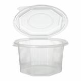 6 x  50 Verpackungsbecher mit Klappdeckeln, PP 8-eckig 1 l 8,3 cm x 13 cm x 13 cm transparent