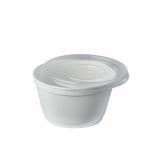 8 x  44 Suppenbecher, EPS To Go 350 ml Ø 11,6 cm · 6,6 cm weiss mit Deckel PP transparent