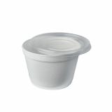 8 x  50 Suppenbecher, EPS To Go 460 ml Ø 11,6 cm · 7,8 cm weiss mit Deckel PP transparent
