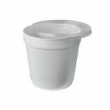 8 x  36 Suppenbecher, EPS To Go 680 ml Ø 11,6 cm · 11,1 cm weiss mit Deckel PP transparent