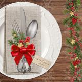15 x  20 Servietten, 3-lagig 1/4-Falz 33 cm x 33 cm Christmas Dinner