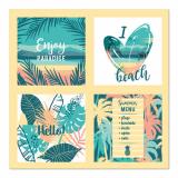 10 x  20 Servietten, 3-lagig 1/4-Falz 33 cm x 33 cm Exotic Paradise