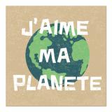 10 x  20 Servietten, 3-lagig 1/4-Falz 33 cm x 33 cm J´aime ma Planete