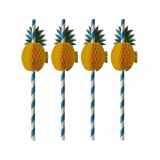 10 x  50 Trinkhalme, Papier Ø 6 mm · 20 cm blau/weiss Pineapple