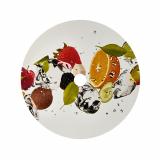 5 x  100 Abdeckungen für Becher, Pappe rund Ø 10 cm Fruits mit Lochung