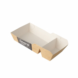 12 x  50 Pommes-Frites-Trays pure 2-geteilt 3,5 cm x 7 cm x 14,5 cm Good Food