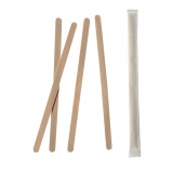10 x  1000 Rührstäbchen, Holz pure 17,8 cm x 6 mm einzeln gehüllt