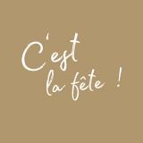 15 x  20 Servietten, 3-lagig 1/4-Falz 33 cm x 33 cm gold C´est La Fete