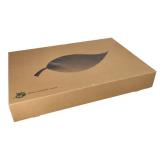 4 x  10 Transport- und Catering-Kartons, Pappe pure 8 cm x 55,7 cm x 37,6 cm braun 100% Fair mit Sichtfenster aus PLA