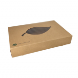 5 x  10 Transport- und Catering-Kartons, Pappe pure 8 cm x 46,4 cm x 31,3 cm braun 100% Fair mit Sichtfenster aus PLA