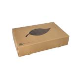 10 x  10 Transport- und Catering-Kartons, Pappe pure 8 cm x 35,7 cm x 24,7 cm braun 100% Fair mit Sichtfenster aus PLA