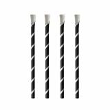 8 x  100 Trinkhalme mit Löffel, Papier Ø 8 mm · 20 cm schwarz/weiss Stripes