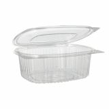 10 x  50 Feinkost- und Salatschalen mit Klappdeckel, R-PET oval 750 ml 6,2 cm x 14,4 cm x 17,5 cm klar