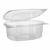 6 x  50 Feinkost- und Salatschalen mit Klappdeckel, R-PET oval 1500 ml 7,6 cm x 18,2 cm x 20,8 cm klar