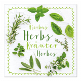 10 x  20 Servietten, 3-lagig 1/4-Falz 33 cm x 33 cm Mixed Herbs